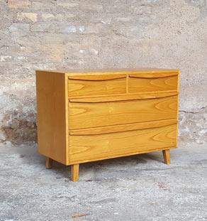 Commode vintage 4 tiroirs Victoria en bois, design 50