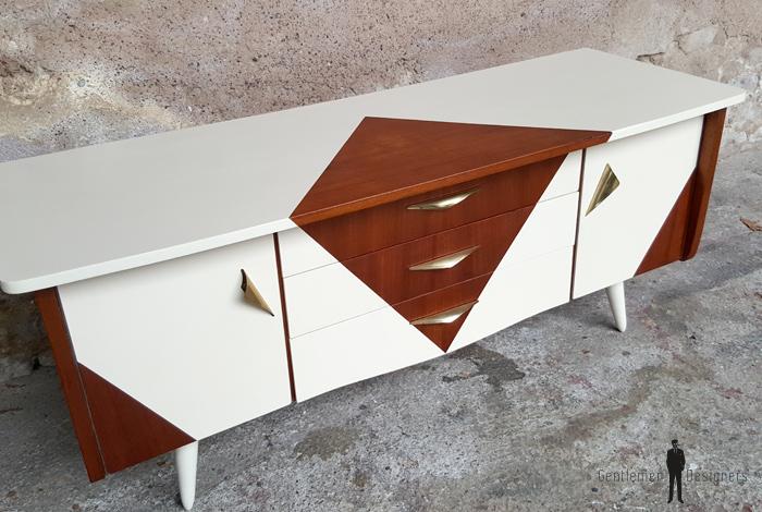 Petit meuble tv hifi vintage scandinave motif graphique for Petit meuble hifi