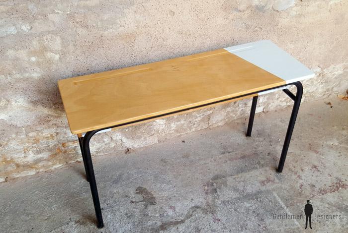 Bureau d 39 cole ancien bois et m tal gris clair - Bureau d ecolier ancien en bois place ...
