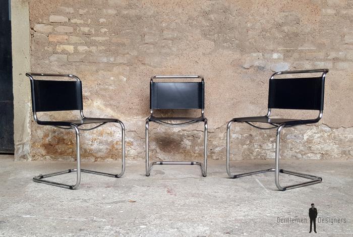 4 chaises vintage tubulaire style breuer cuir noir. Black Bedroom Furniture Sets. Home Design Ideas