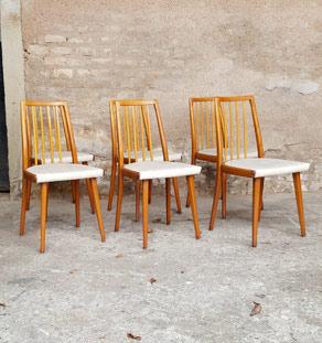 6 chaises vintage à barreaux en bois et skaï