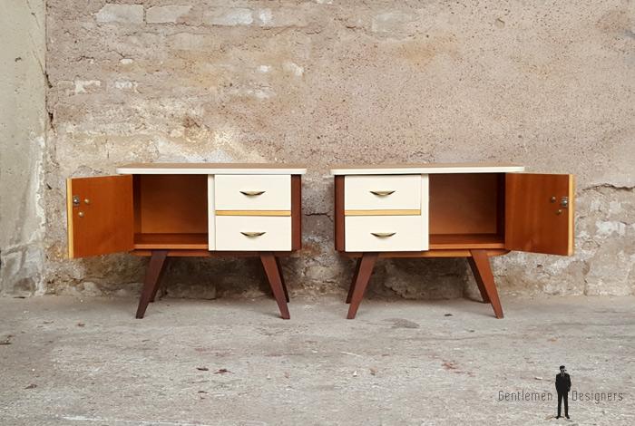 paire de chevets vintage scandinave pieds compas. Black Bedroom Furniture Sets. Home Design Ideas