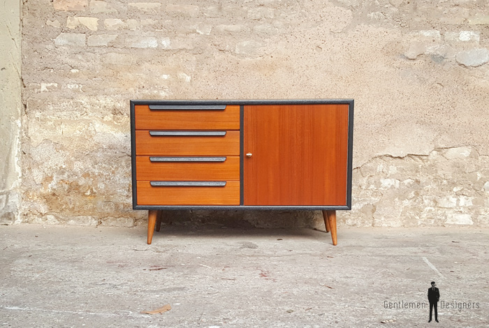 Commode petit meuble scandinave en teck gris anthracite - Petit meuble teck ...
