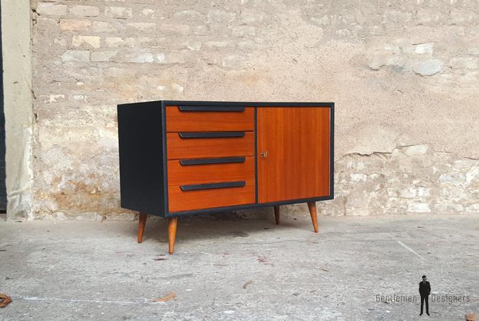 Commode petit meuble scandinave en teck gris anthracite - Petit meuble gris ...