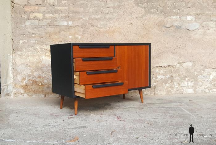 Commode petit meuble scandinave en teck gris anthracite - Meuble peint en gris anthracite ...
