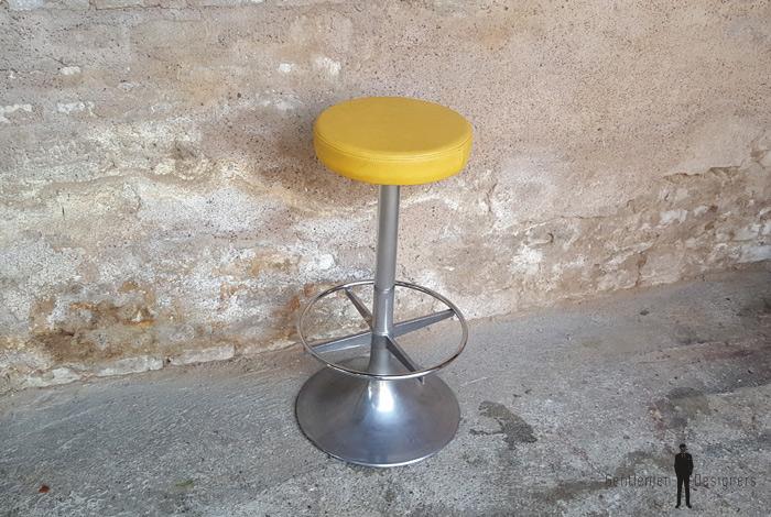 Tabouret haut vintage de bar haut assise ska jaune - Tabouret haut vintage ...