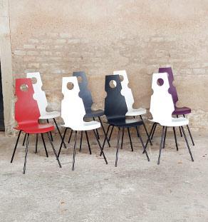 8 chaises vintage haut dossier, bois et métal, Haeberli