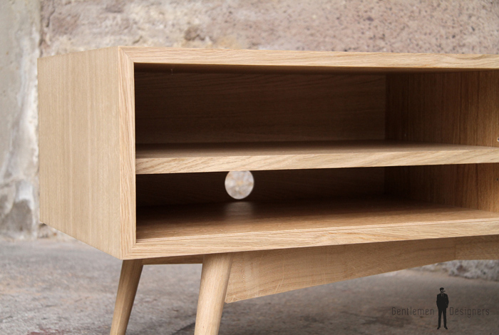 Petit meuble tv bas scandinave made in france for Meuble tv bas bois