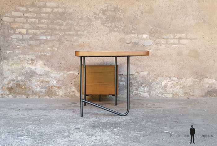 Rare bureau vintage teck, tubulaire, années 60,Georges Frydman gentlemen designers acier tiroirs
