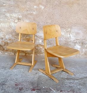 Chaises d'école vintage Casala, enfant, ado en bois