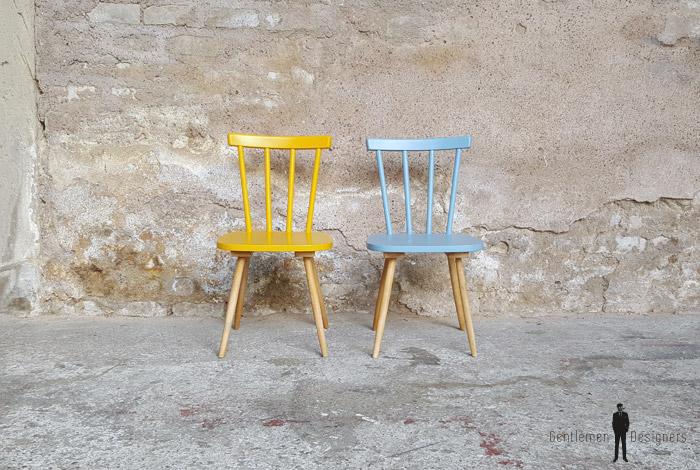 Lot de 2 chaises vintage barreaux bois jaune bleu for Barreaux de chaise