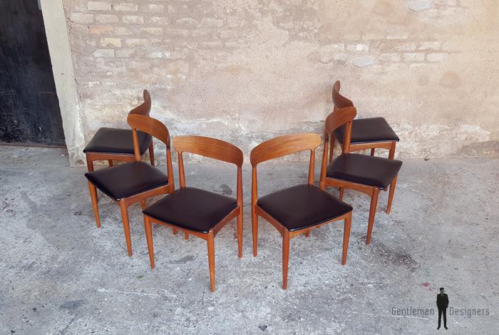 6 chaises vintage scandinave teck johannes andersen. Black Bedroom Furniture Sets. Home Design Ideas