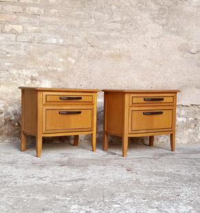 Paire de chevets vintage bois, gris anthracite, porte et tiroir