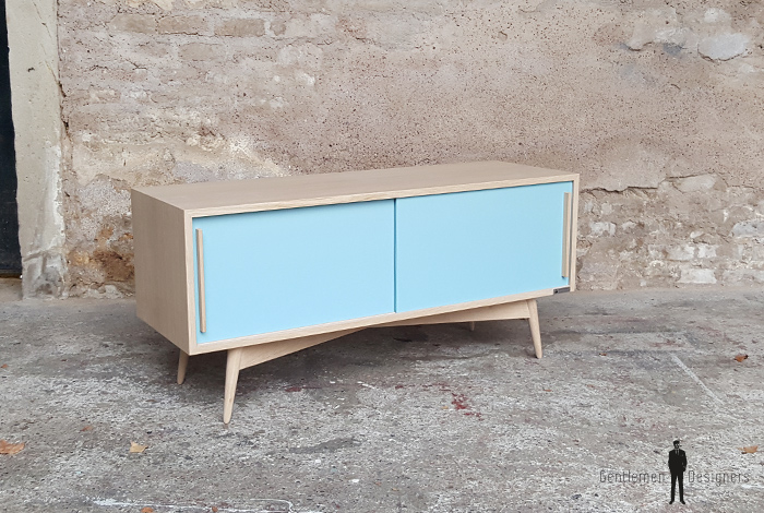 Enfilade scandinave tv bas chene clair bleu france scandinave - Meuble scandinave paris ...