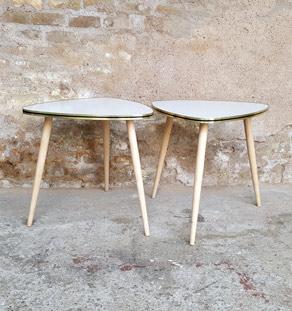 Tables basses vintage en forcmica, bord doré, pieds compas paire gentlemen designers