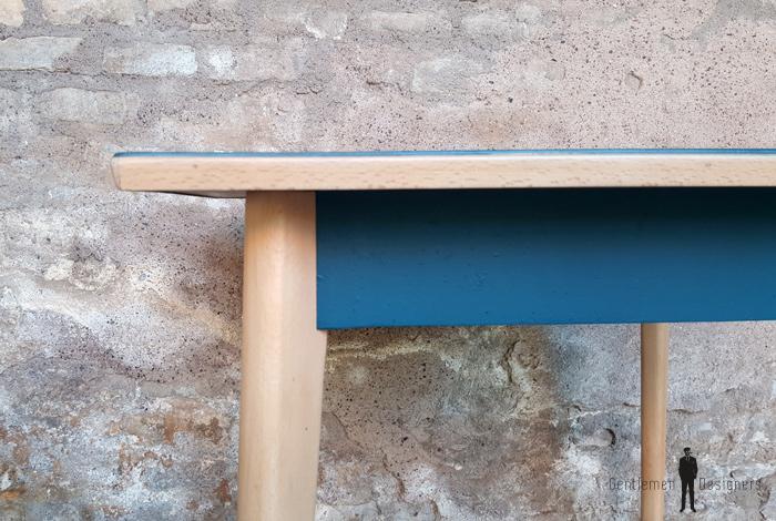 table carr vintage plateau bleu p trole pieds compas bois. Black Bedroom Furniture Sets. Home Design Ideas