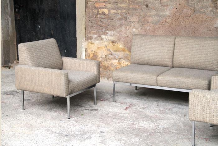 ensemble canap et fauteuils vintage scandinave en tissu esprit knoll. Black Bedroom Furniture Sets. Home Design Ideas