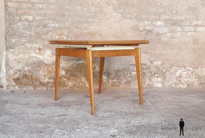 table carr e rallonge papillon vintage ch ne pieds compas. Black Bedroom Furniture Sets. Home Design Ideas