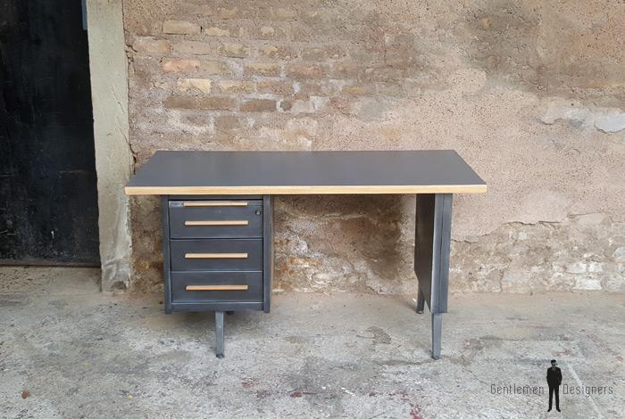 Bureau vintage style industriel gris anthracite tiroirs - Bureau gris anthracite ...