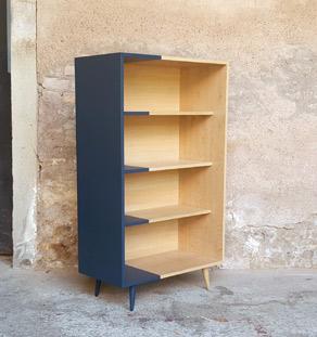 Etagère, armoire esprit vintage graphique, chêne clair, gris Gentlemen Designers