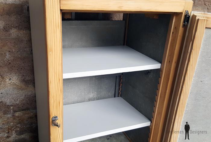 Ancien frigo d tourn en petit meuble bois et gris clair - Meuble frigo ancien bois ...