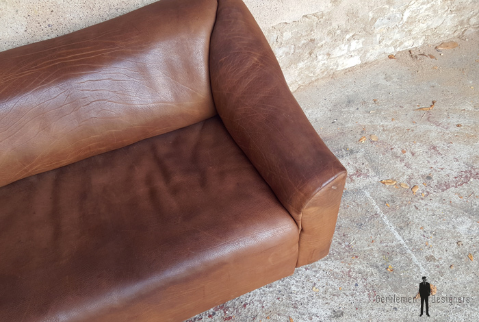 Rare Canapé DeSede DS 47 en cuir de buffle, siège extractible