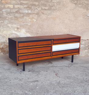 meuble enfilade basse tiroirs relook e noir et teck. Black Bedroom Furniture Sets. Home Design Ideas