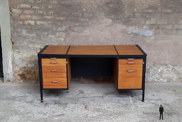 Grand bureau vintage avec tiroirs en bois teck - Bureau avec grand tiroir ...
