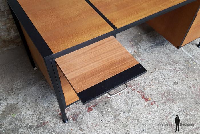 Grand bureau vintage avec tiroirs en bois teck - Grand bureau noir ...