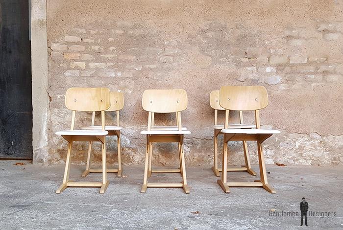 6 chaises vintage casala blanche et bois clair. Black Bedroom Furniture Sets. Home Design Ideas