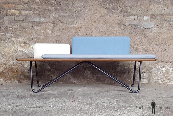 banc dossier dossier tissu pied metal scandinave. Black Bedroom Furniture Sets. Home Design Ideas
