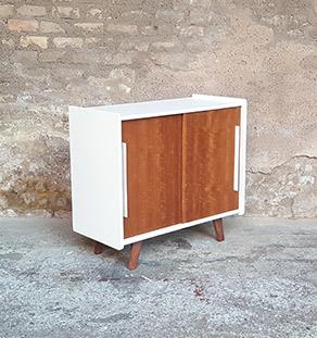 Vintage meuble 2 portes relooke blanc pieds compas - Pied compas pour meuble ...