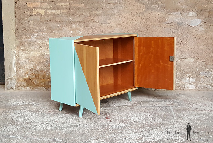 vintage meuble graphique 2 portes relooke vert. Black Bedroom Furniture Sets. Home Design Ideas