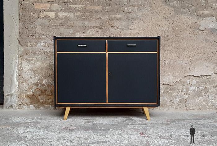 meuble 2 portes 2 tiroirs relooke noir pieds compas. Black Bedroom Furniture Sets. Home Design Ideas