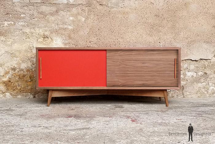 Creation sur mesure meuble tv noyer 2 portes - Creation de meuble sur mesure ...