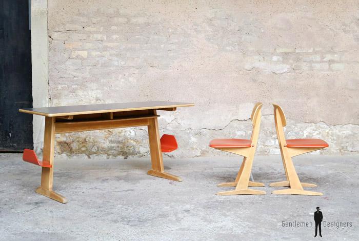 bureau vintage colier casala en bois 2 places gentlemen designers. Black Bedroom Furniture Sets. Home Design Ideas