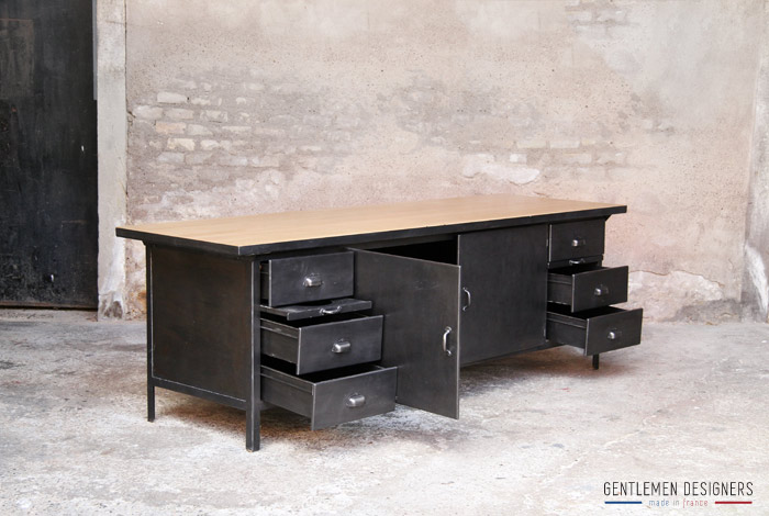 comptoir grand il t central style indus m tal bois gentlemen designers. Black Bedroom Furniture Sets. Home Design Ideas