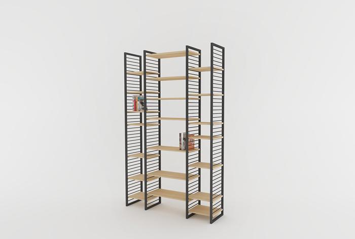 creation sur mesure etagere bibliotheque murale 3 espaces etm at cm 02. Black Bedroom Furniture Sets. Home Design Ideas