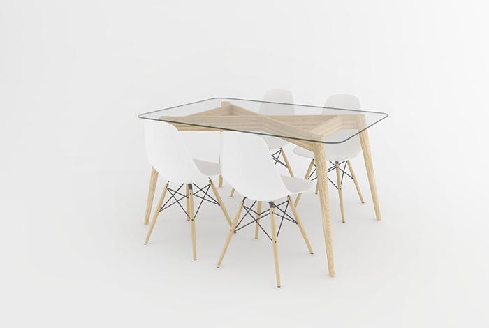table repas en verre pieds compas style scandinave. Black Bedroom Furniture Sets. Home Design Ideas