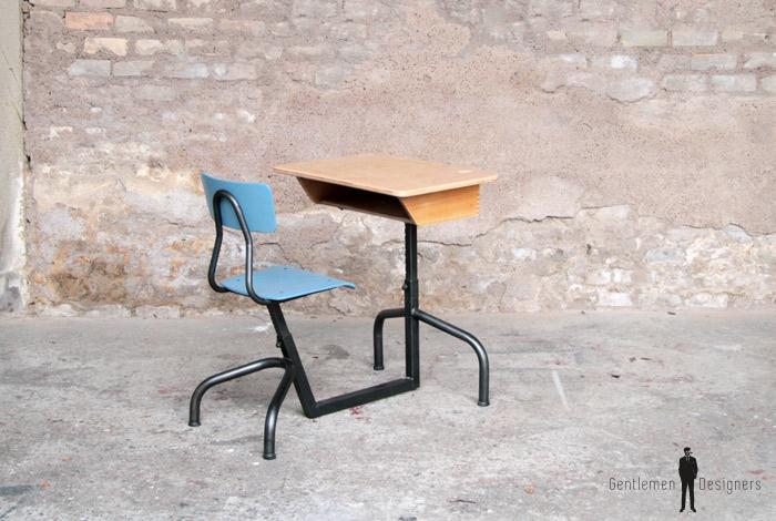 Bureau ancien d écolier place bois et bleu gentlemen designers