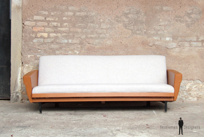 canap vintage 3 places convertible tissu gris chin. Black Bedroom Furniture Sets. Home Design Ideas