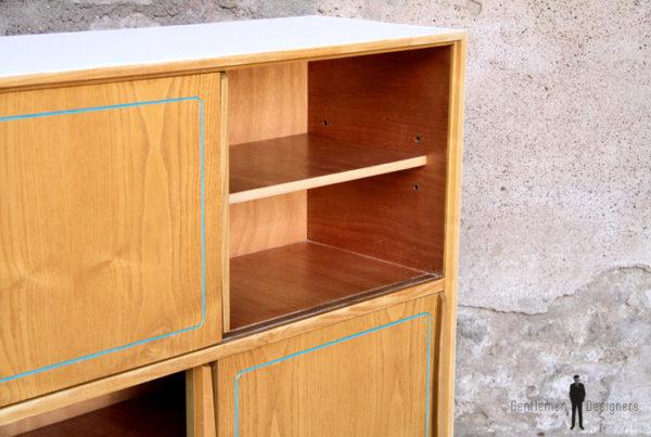 Meuble de rangement vintage_portes coulissante en bois