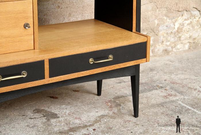 Bureau secrétaire vintage en bois pieds compas