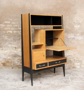 bureau secr taire vintage en bois pieds compas. Black Bedroom Furniture Sets. Home Design Ideas
