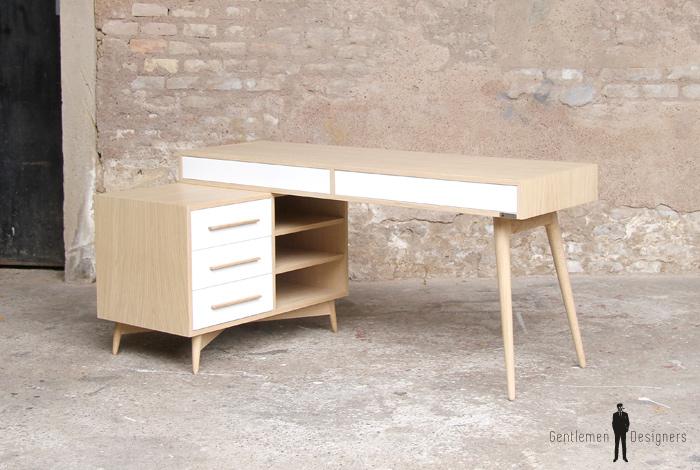 Bureau meuble style vintage scandinave chene clair pieds compas