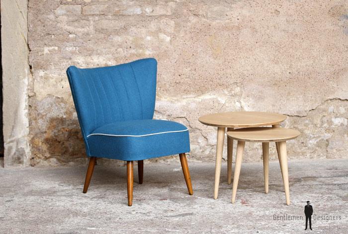 fauteuil vintage cocktail tissu bleu gentlemen designers. Black Bedroom Furniture Sets. Home Design Ideas