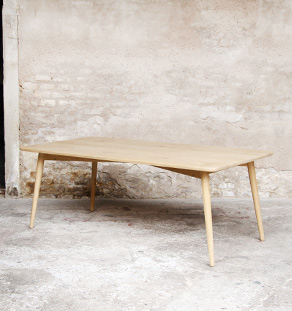 Table chene massif made in france grande scandinave pieds compas