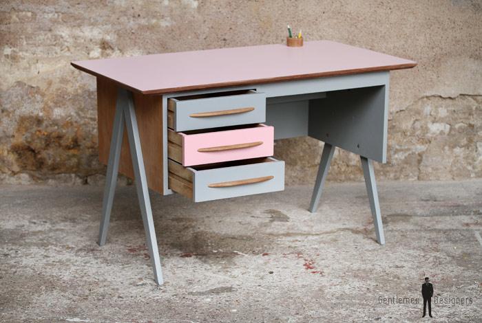 Bureau vintage enfant, rose et gris pieds compas