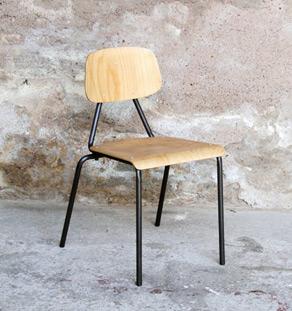 Chaise bois métal vintage