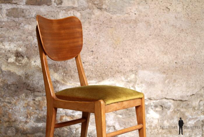 lot de 6 chaises vintage scandinave teck et velours - Chaise Vintage Scandinave